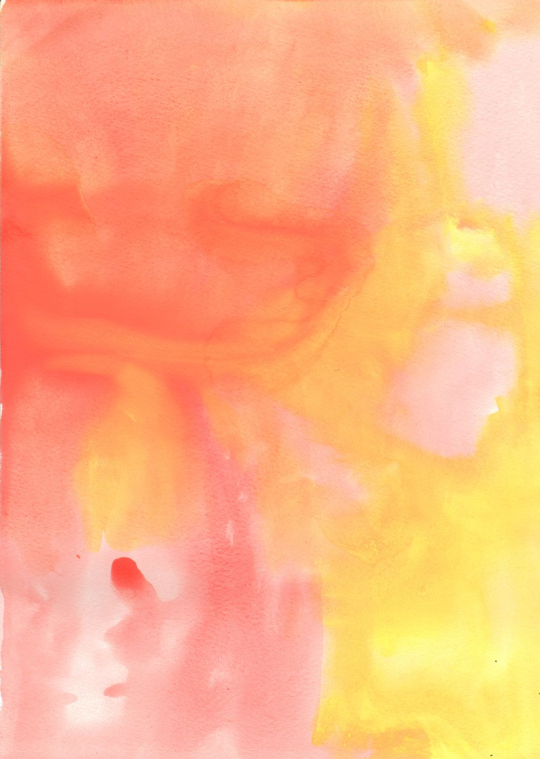 Abstract watercolor. Pink yellow peach orange Abstract