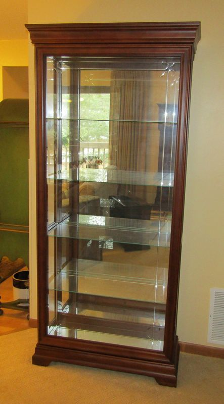 Modern mahogany sliding front curio/china cabinet with four ...