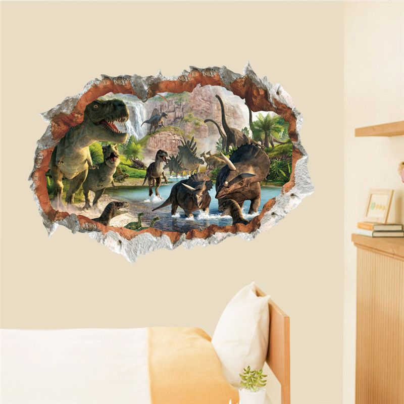 Dinosaurs 3d Hole Wall Stickers Living Room Bedroom Decoration