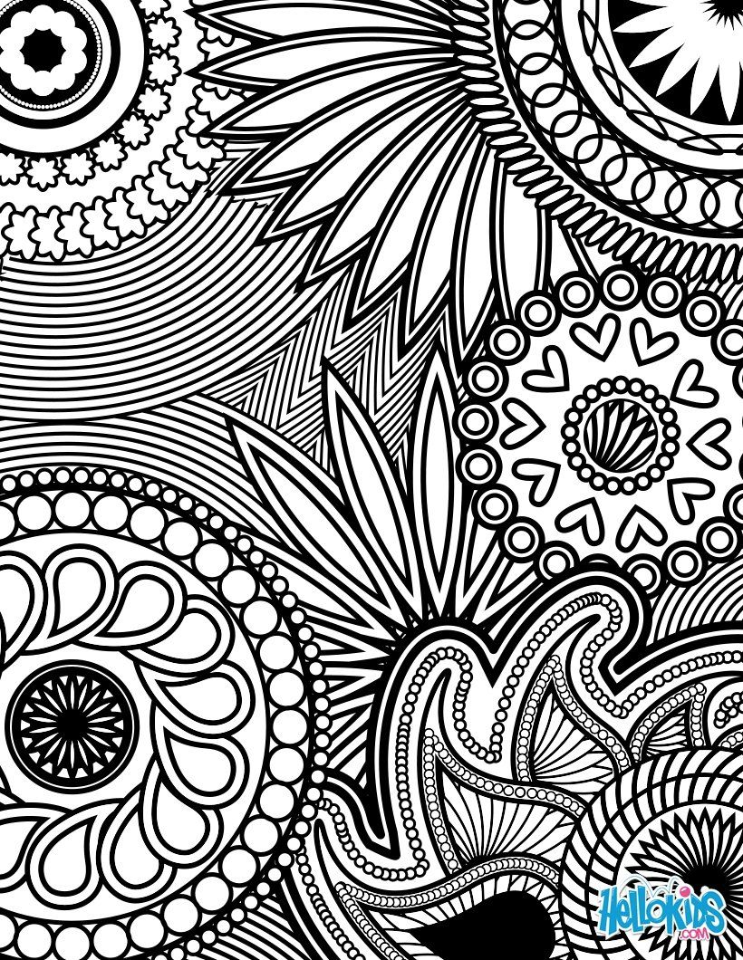 Paisley Hearts And Flowers Anti Stress Coloring Design Page