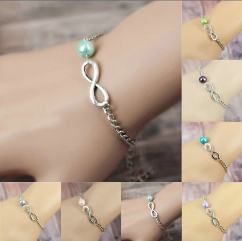 Personalized Infinity Pearl Bracelet