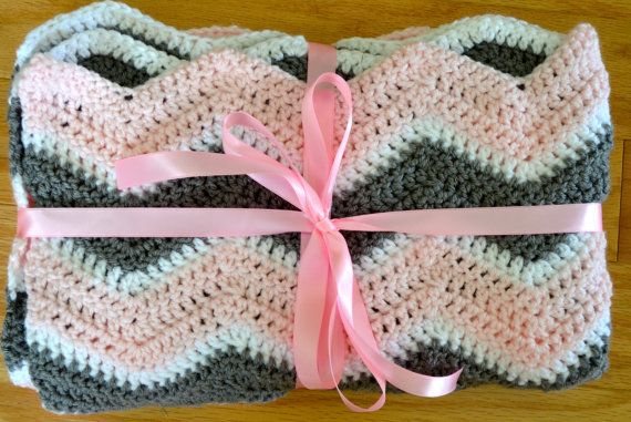 Chevron Crochet baby blanket  Made To Order  by TheVelvetButtercup, $42.00