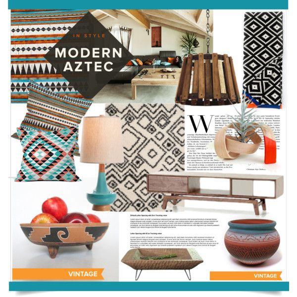 Modern Aztec Style by clotheshawg on Polyvore featuring interior ...