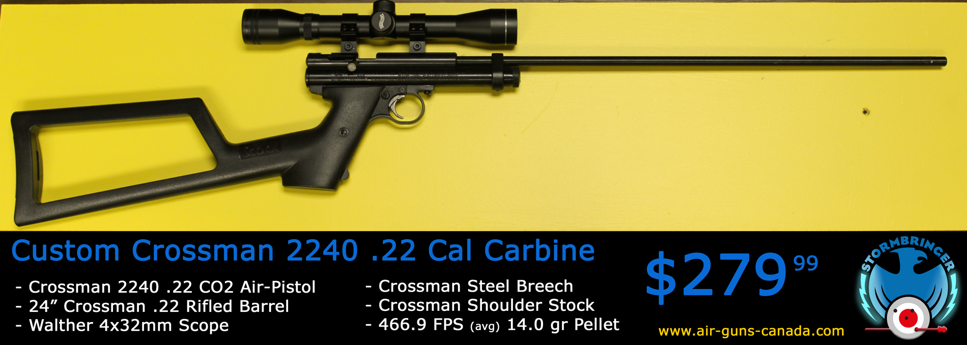 Crosman 2240 Carbine. Featuring a Crosman steel breech