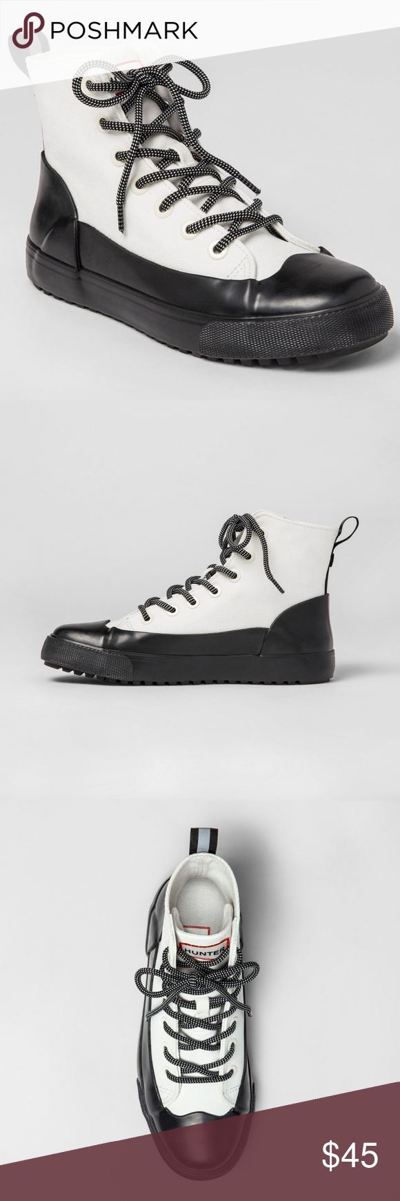 e68ef11bbc2 HUNTER Target White Black Hightop Sneakers 7.5 9.5 New without tags. The  insole has been marked so prevent retail return. Mens 7.5