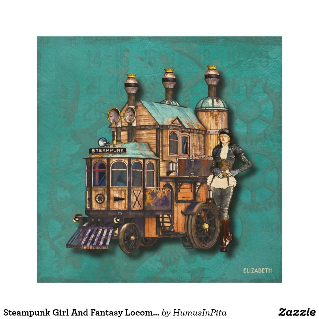 Steampunk Girl And Fantasy Locomotive Machine Wood Wall Art