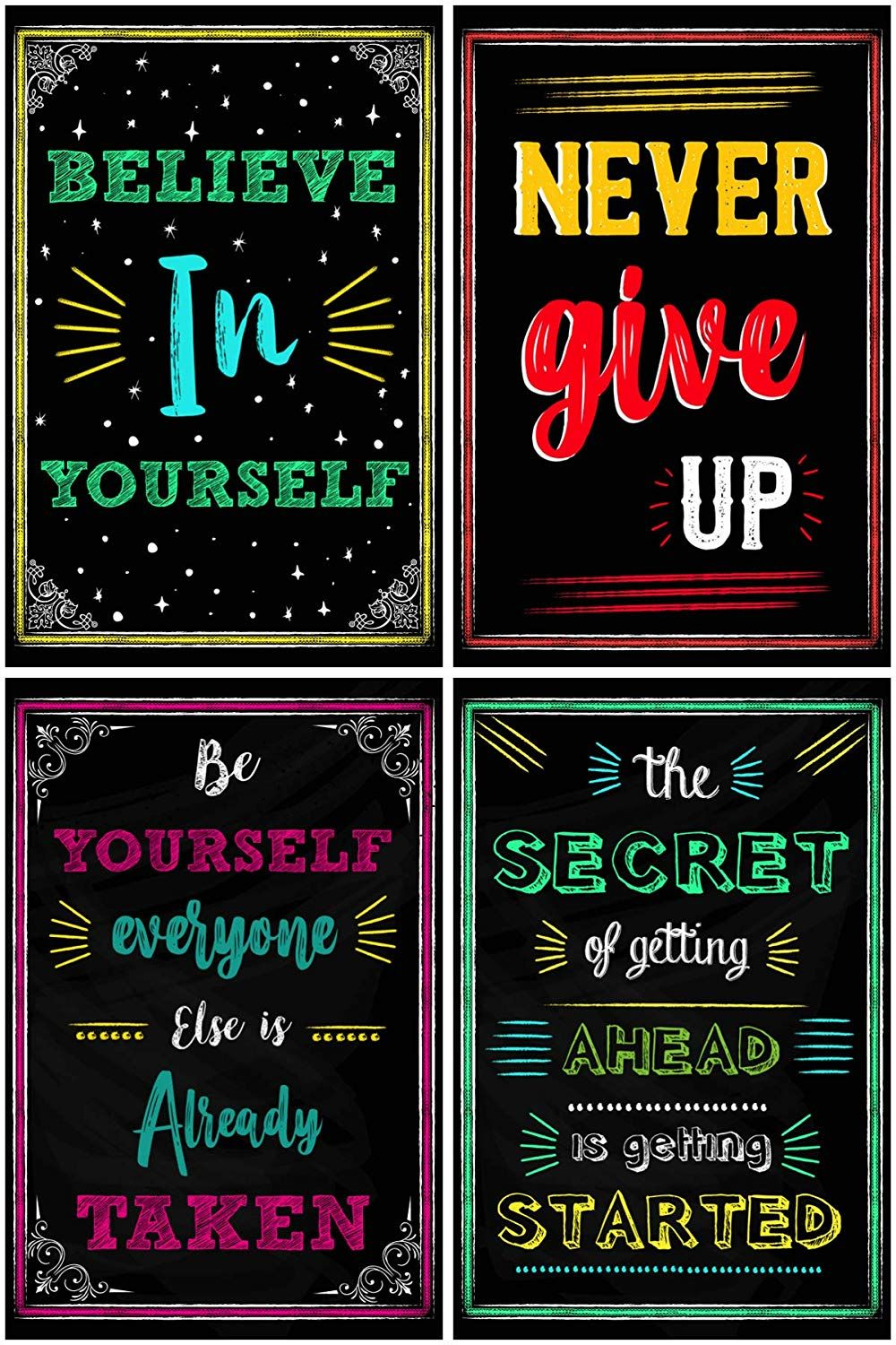 Amazon Com Motivational Posters For Classroom Office Decorations Inspirational Quote Wall Inspirational Quotes Wall Art Wall Art Quotes Chalkboard Designs