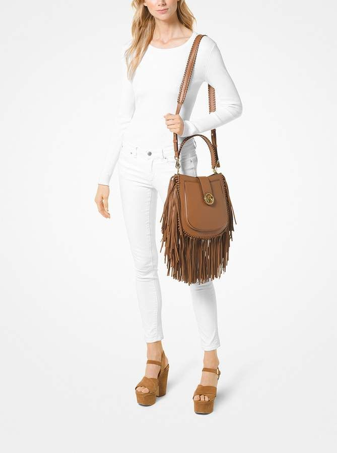 f82b546e7043f8 MICHAEL Michael Kors Lillie Medium Fringed Leather Shoulder Bag ...