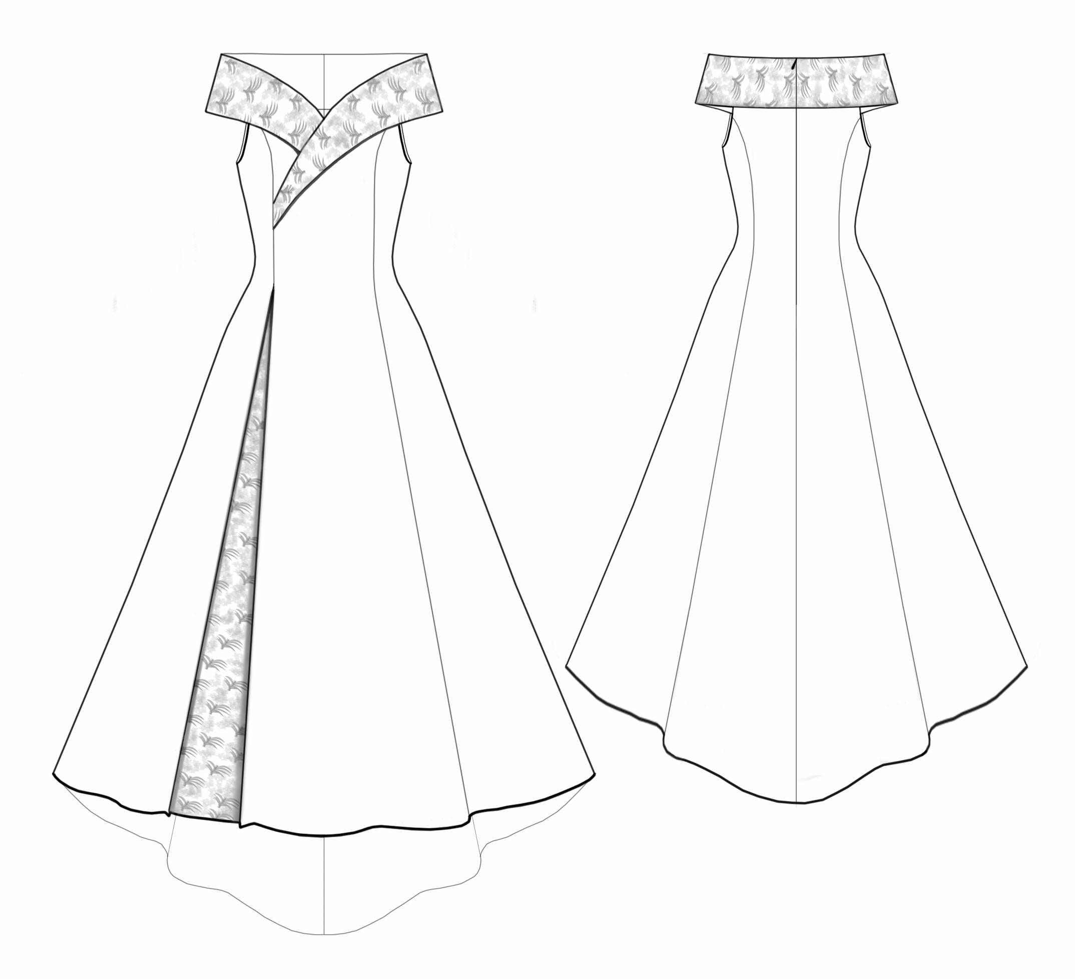 Wedding Dress - Sewing Pattern #5530 Made-to-measure sewing pattern ...