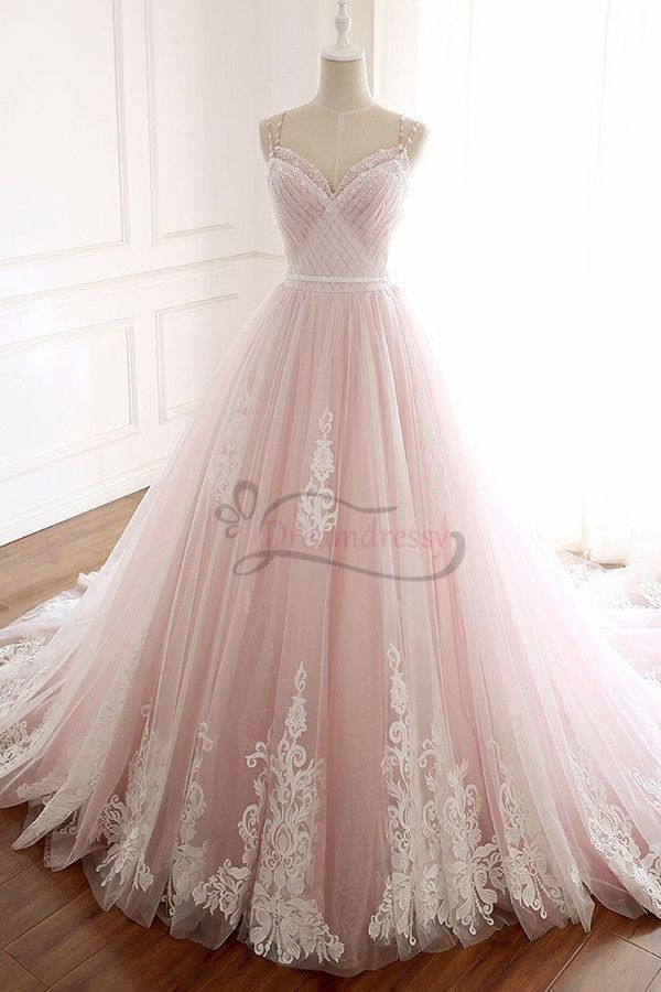 Princess Pink Straps Beaded Long Prom Dress with Train