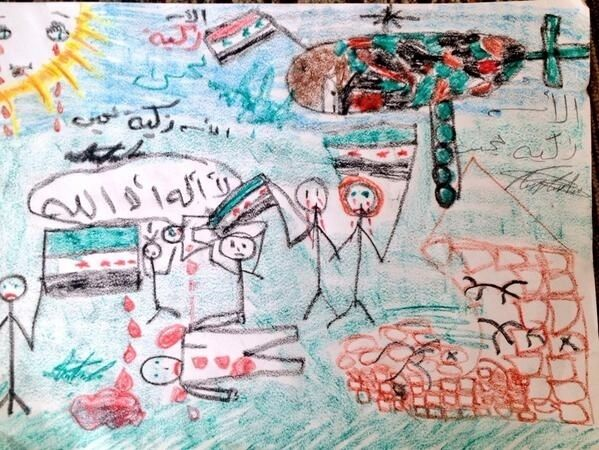 a 10 year old girl in syria draws what it looked like in her village