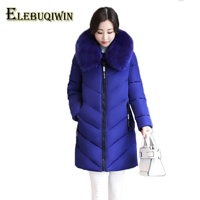 a6ed9358c16 6XL Plus size Womens Down Cotton Jackets 2017 New Big Fur collar Winter  Hooded Thick Warm Overcoat Female Long Coats Parkas L129