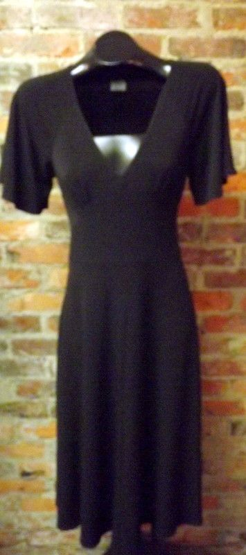 Stunning Boston Proper Black V-neck Lightweight Knit Dress Sz S #BostonProper #Sheath #LittleBlackDress