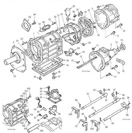 Ford Toyo Koyo 4 & 5 spd. manual transmission illustrated