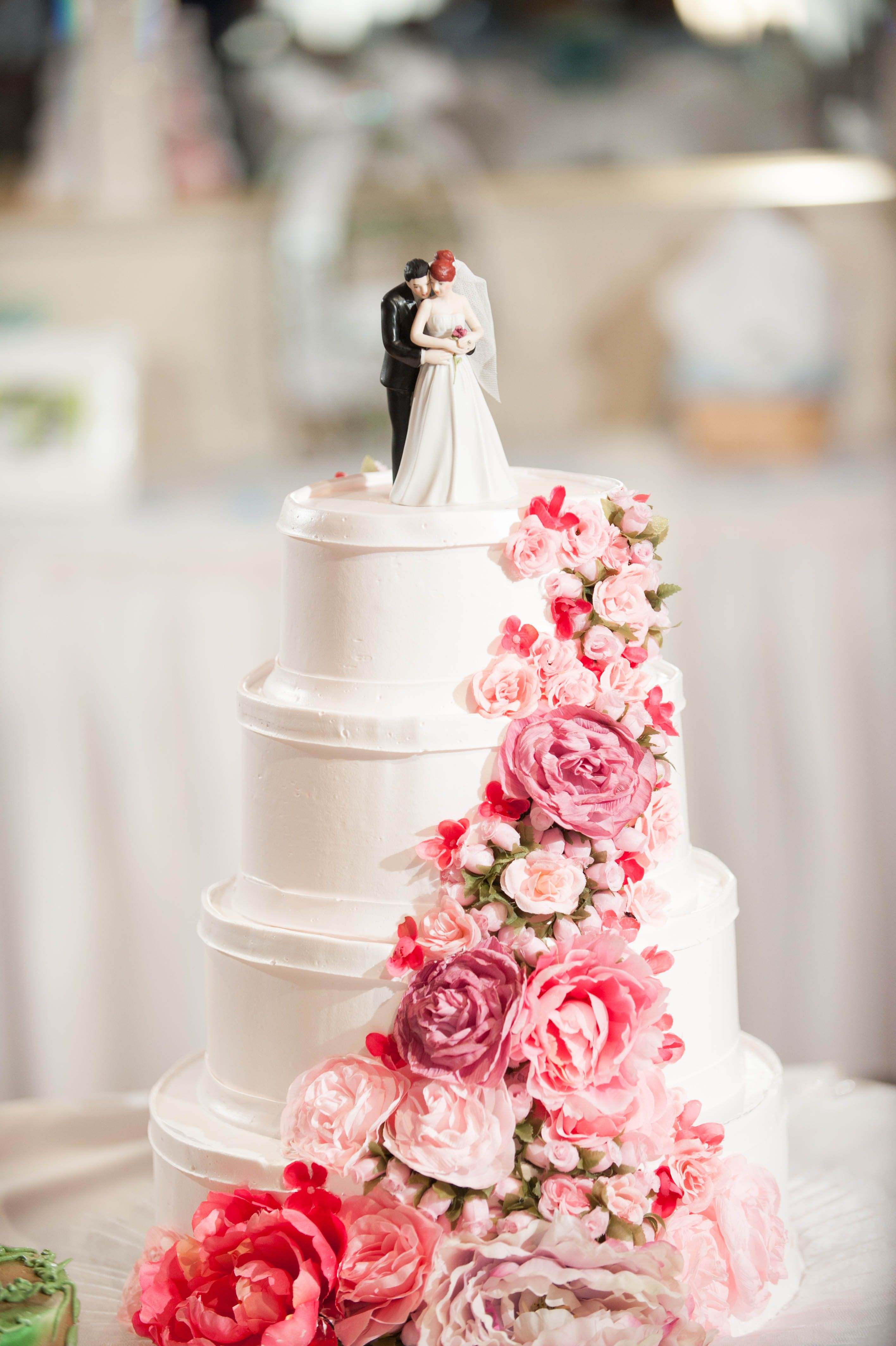 Redhead Cake Topper From Wedding Star Pink Floral With Peonies And Roses Sweeping