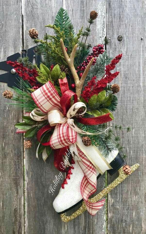 Attraktiv Türkranz Winter, Weihnachtsdekoration, Sammlung, Kariertes Weihnachten,  Weihnachtlicher Hauseingang, Rustikale Weihnachten, Vintage Weihnachten, ...