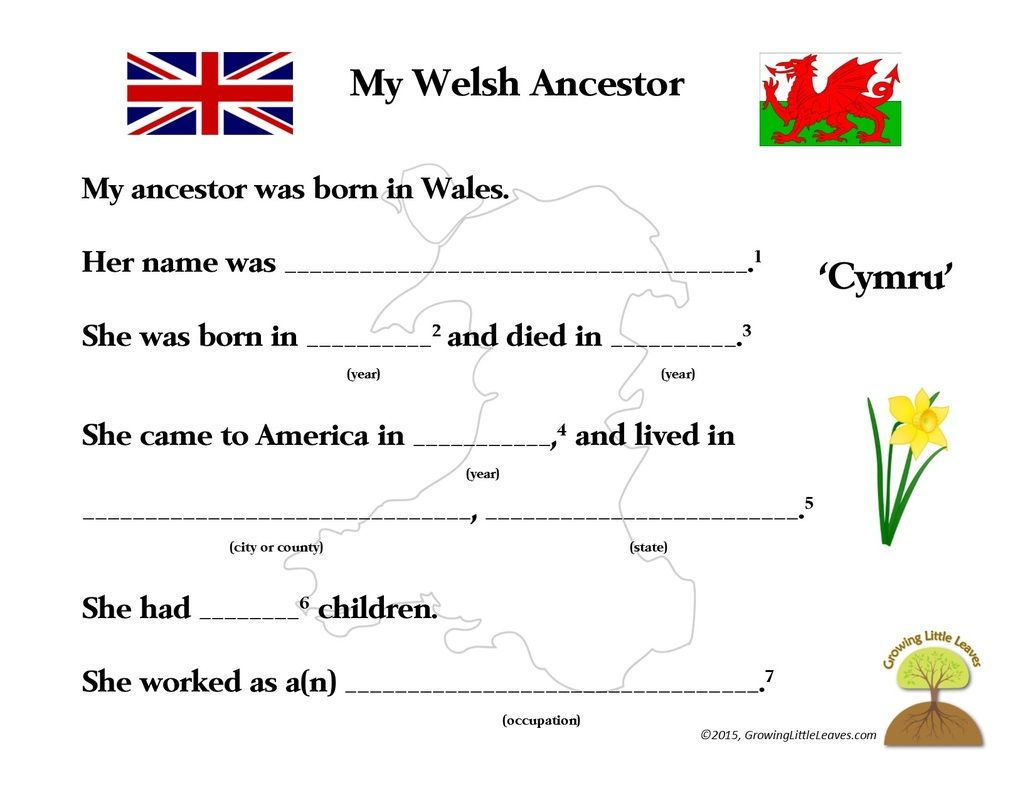 My Welsh Ancestor Free Worksheet Growinglittleleaves