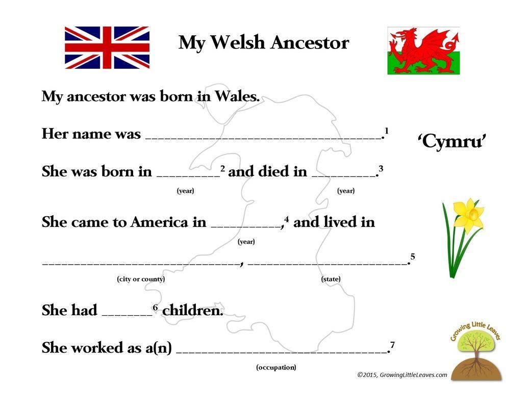 My Welsh Ancestor Free Worksheet Growinglittleleaves