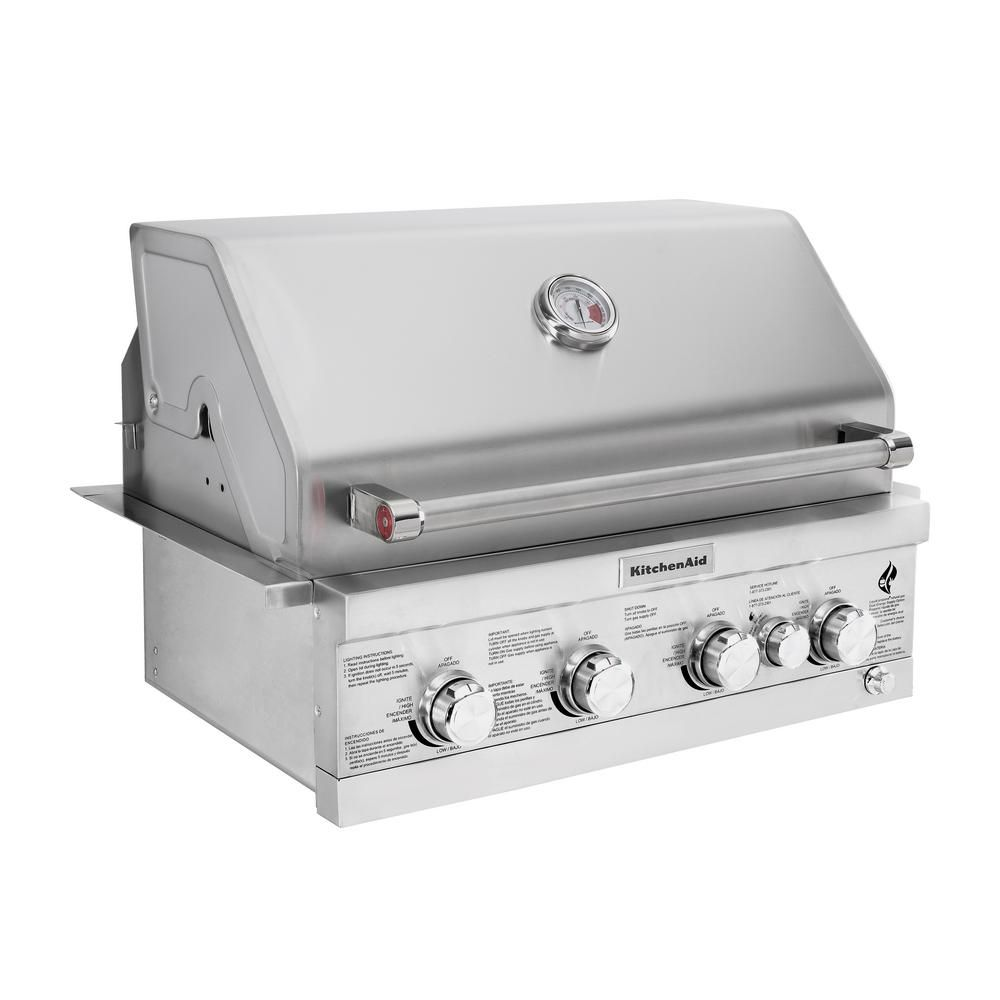 Kitchenaid 4burner builtin propane gas island grill head