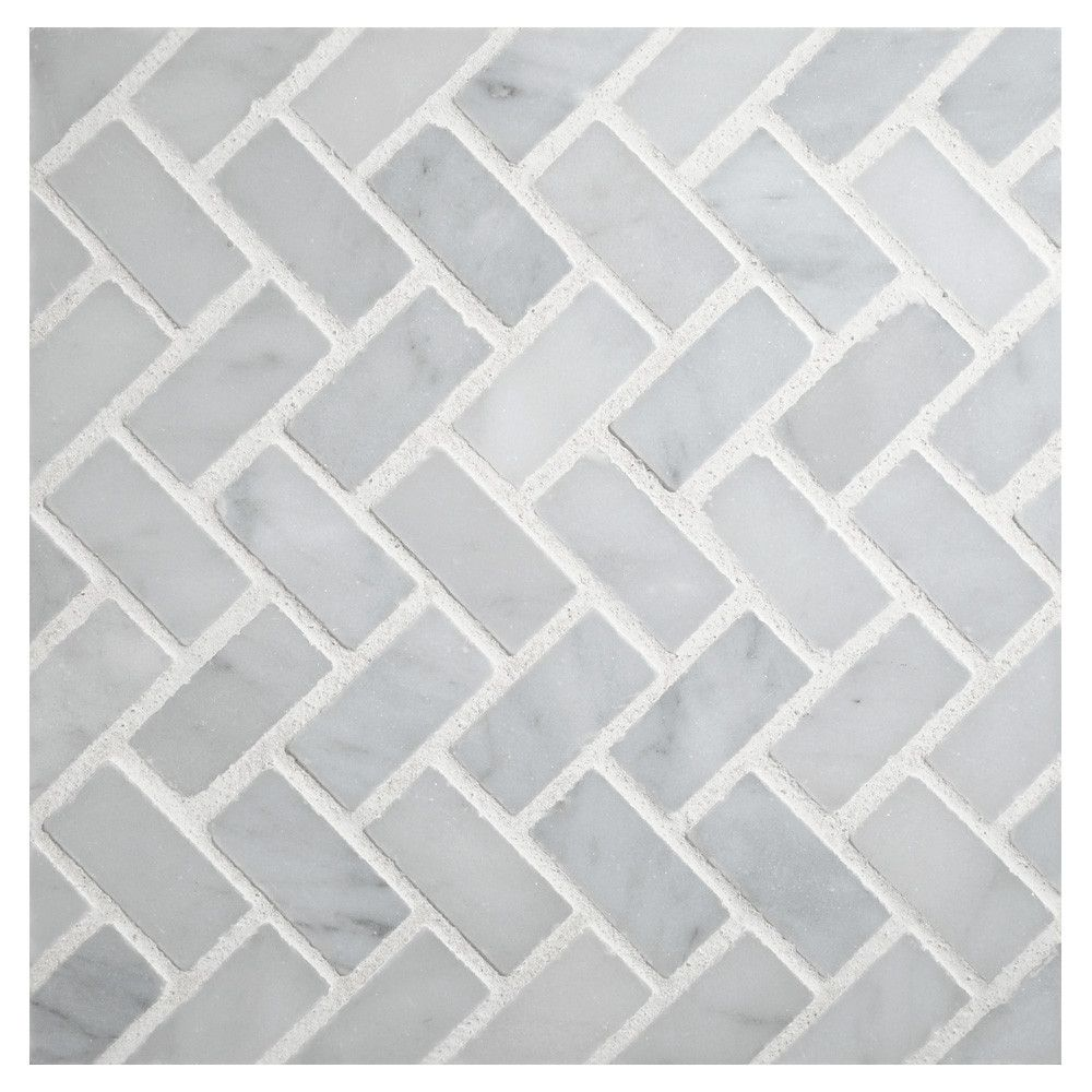 herringbone mosaic tile | polished white carrara marble