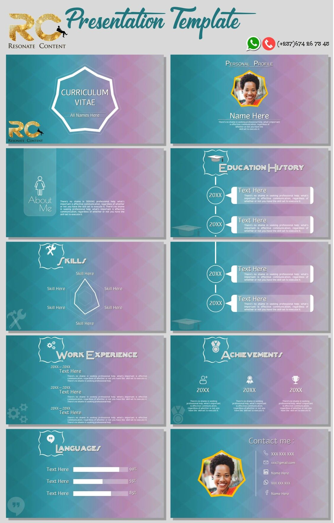 CV PowerPoint Template CV PowerPoint template RC