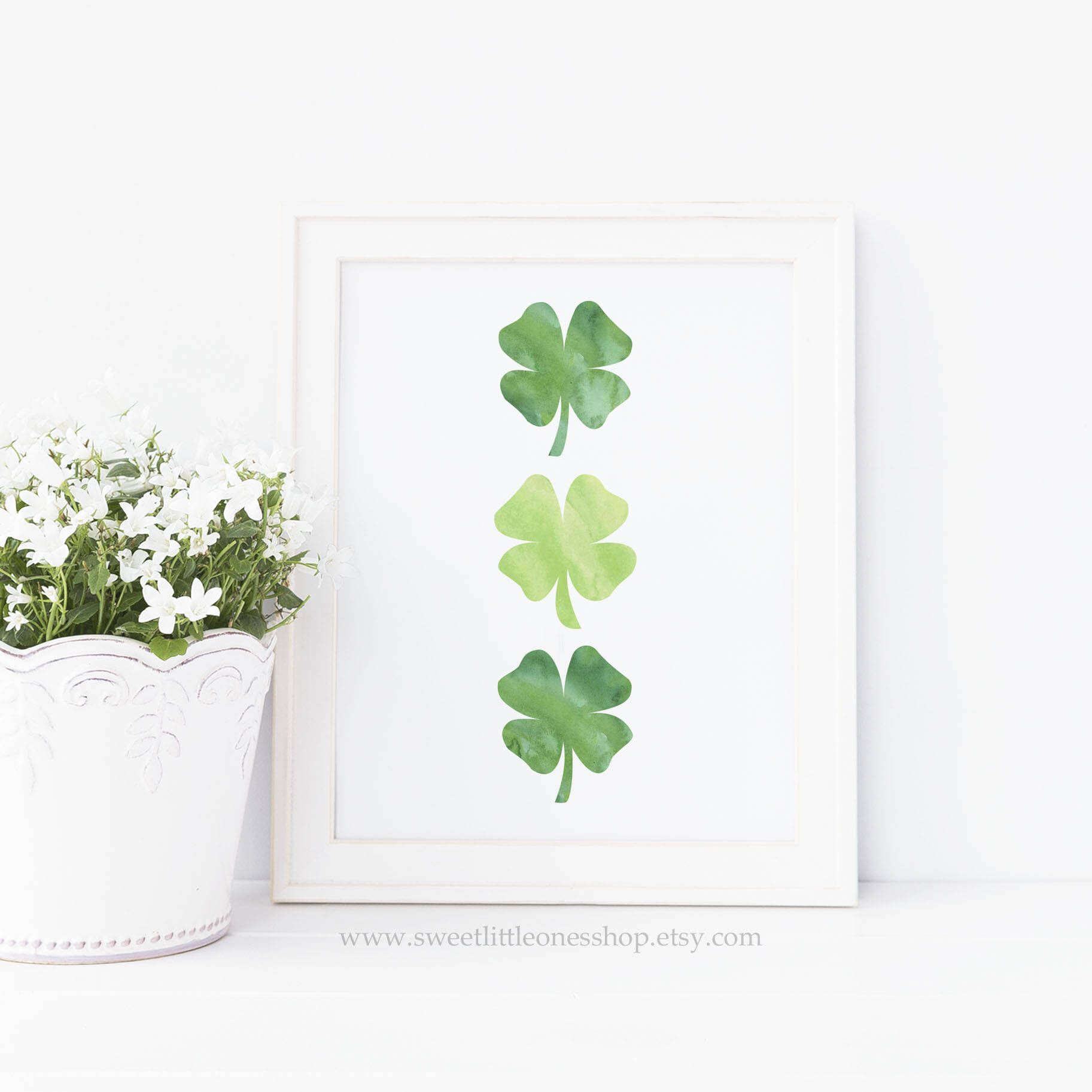 Three Four Leaf Clovers St Patrick's Day Printable Wall Art Green Shamrocks  Print St Patricks Day