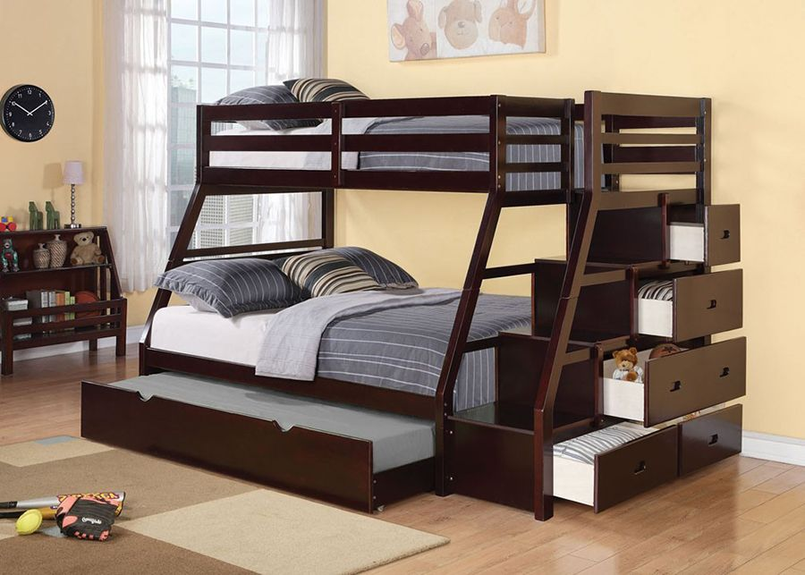 Jason Espresso Twin Full Bunk Bed With Storage Ladder And Trundle