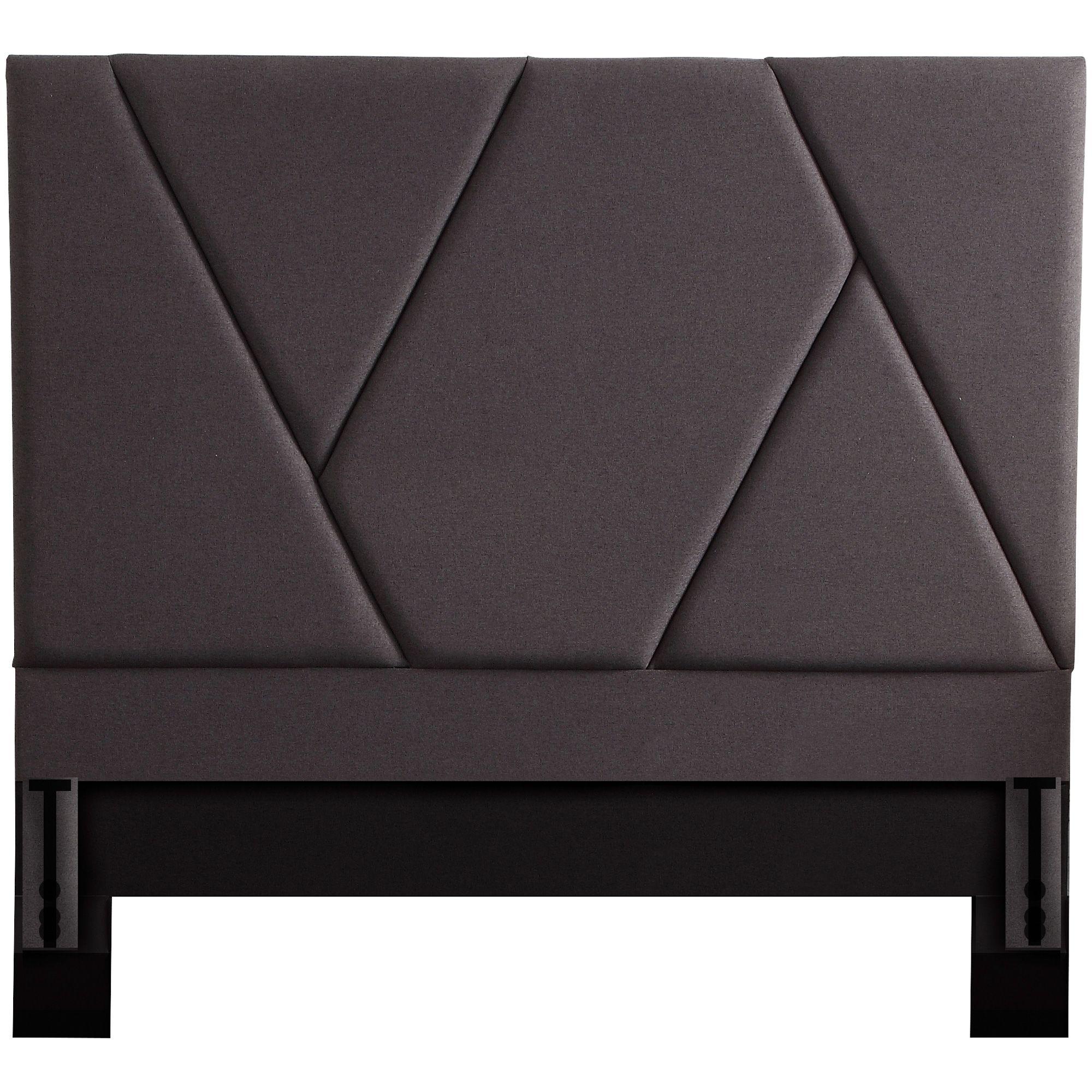 Modern Dark Gray Queen Upholstered Headboard Upholstered
