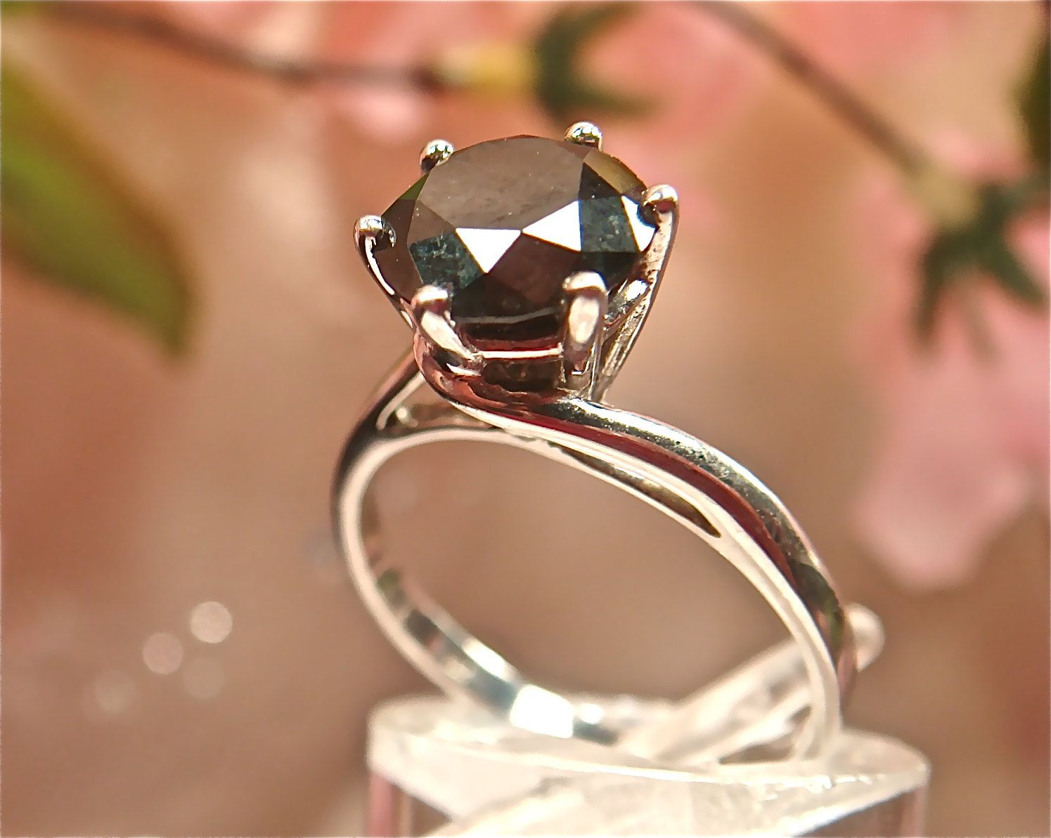 Black Diamond Ring w/ HUGE 1.5ct Solitaire - Engagement, Wedding Solid 10k White Gold - unique jewelry