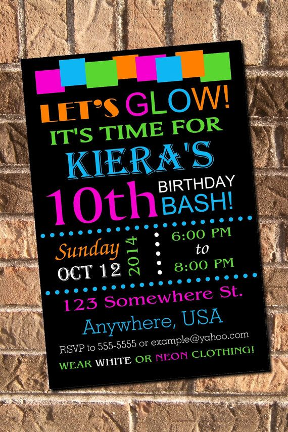 Glow Neon Birthday Party Invitation Printable Digital | Pinterest ...
