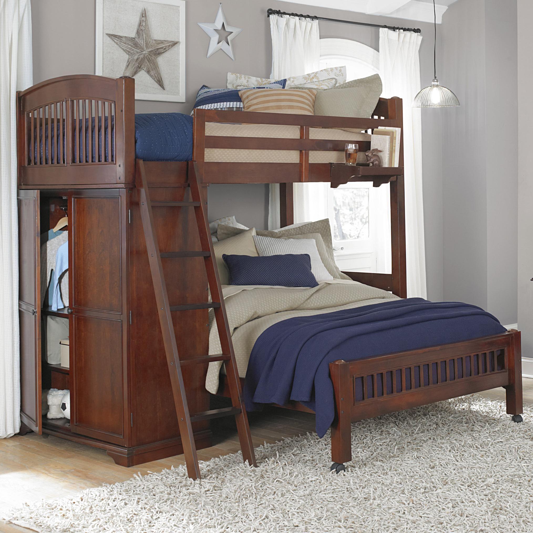 Twin loft bed ideas  Walnut Street Locker Loft with Full Lower Bed by NE Kids  Boys room