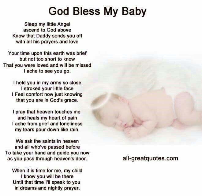 God Bless My Baby Prayers For Children Baby Loss Quotes Funeral Poems