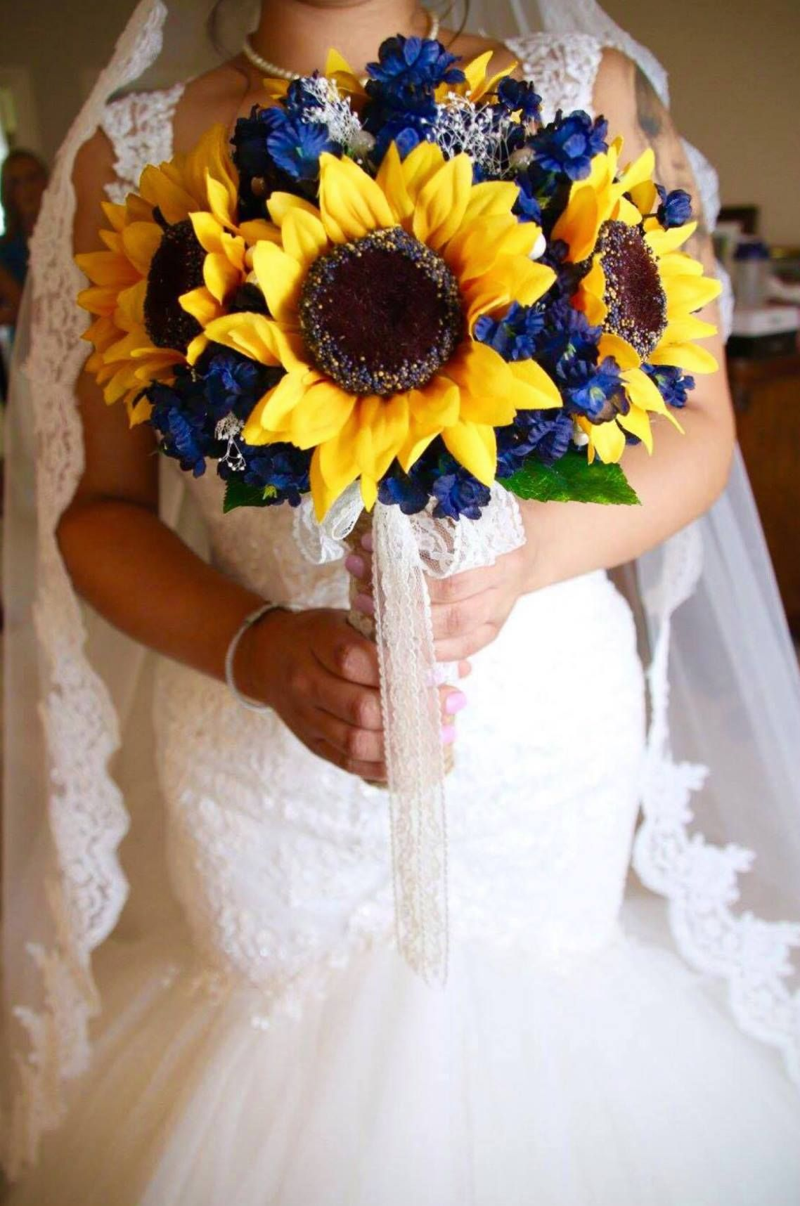 Navy Sunflower Bouquet Sunflower wedding bouquet