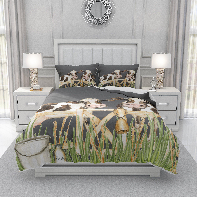 Farmhouse Cow Bedding Set, Cow Comforter, Farmhouse Duvet
