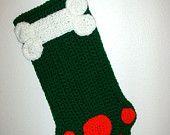 Adorable Green Christmas Stocking or Dog Paw Goodie Bag