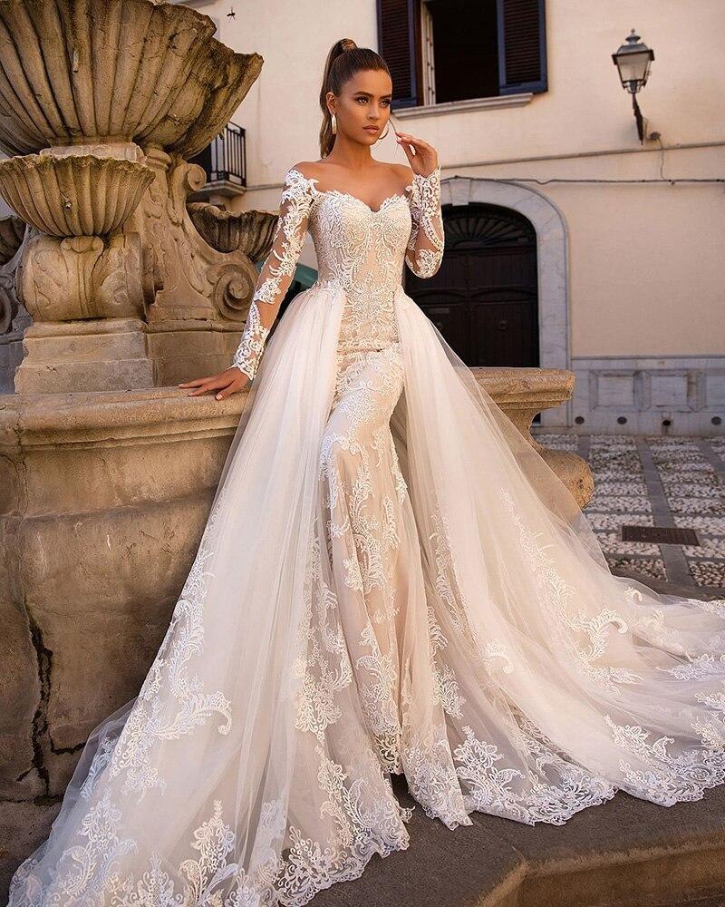 2020 Mermaid Wedding Dresses With Detachable Train Vestido De Noiva Sereia Long Sleeve Lace Trumpet Wedding Gowns Embroidered Wedding Dress Wedding Dress Train Detachable Train Wedding Dress [ 1000 x 800 Pixel ]