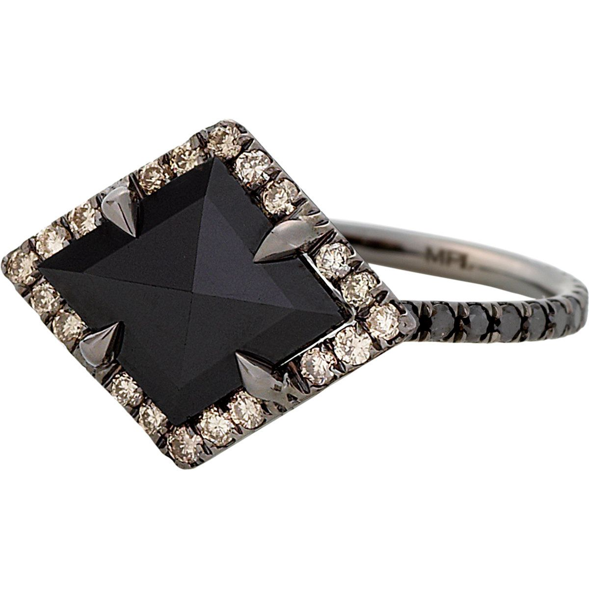 Black diamond ring in the shape of our badge alpha delta pi