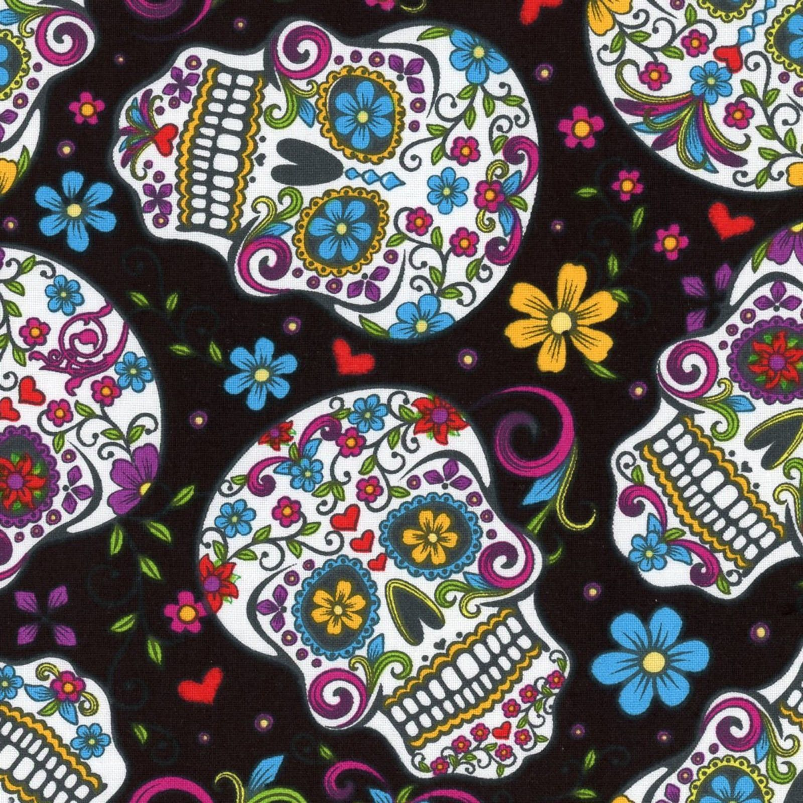 Fabric Day of the Dead Skulls & Zombies on Black Cotton By The 1 4