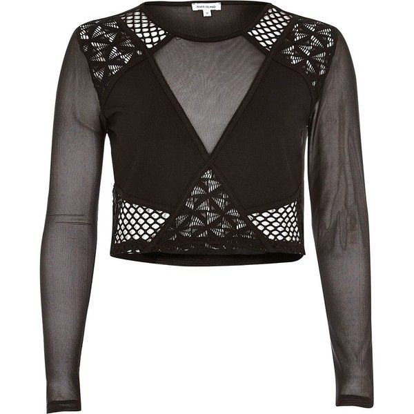 River Island Black mesh lace crop top (£31) ❤ liked on Polyvore featuring tops, black, crop tops / bralets, women, lace crop tops, cut-out crop tops, long sleeve mesh top, crew neck crop top and lacy tops