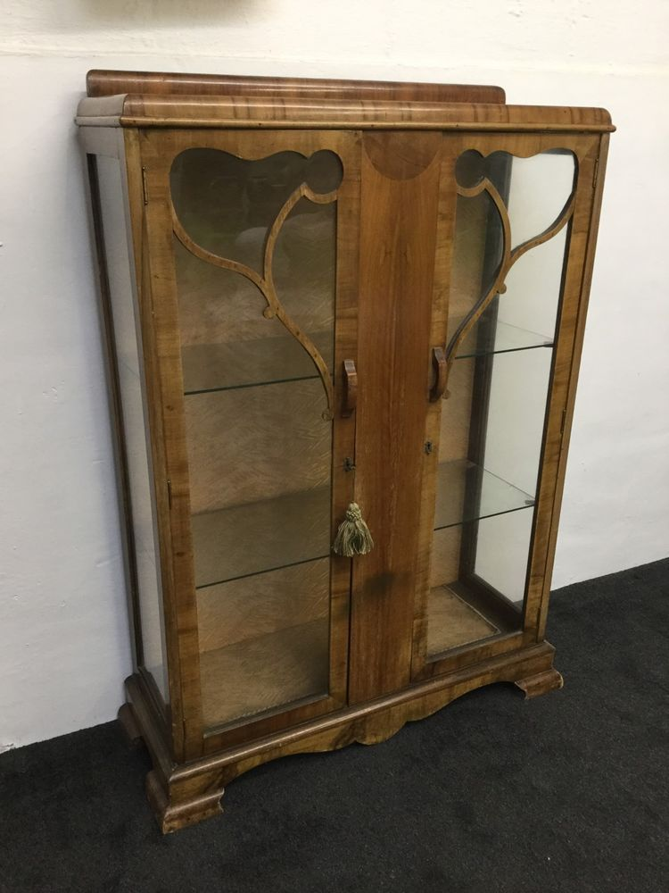1930's Art Deco Nouveau Display China Cabinet With Key | China ...
