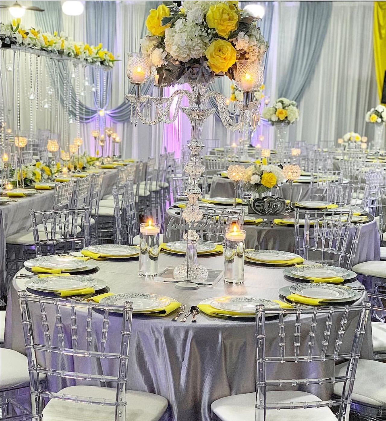 Yellow And Silver Theme Wedding Reception Silver Wedding Decorations Purple Wedding Decorations Yellow Wedding Theme