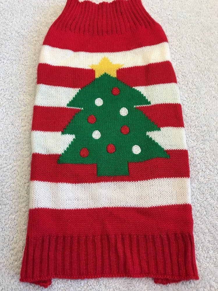 dog sweater size m canine fashion red white stripe knit christmas tree star