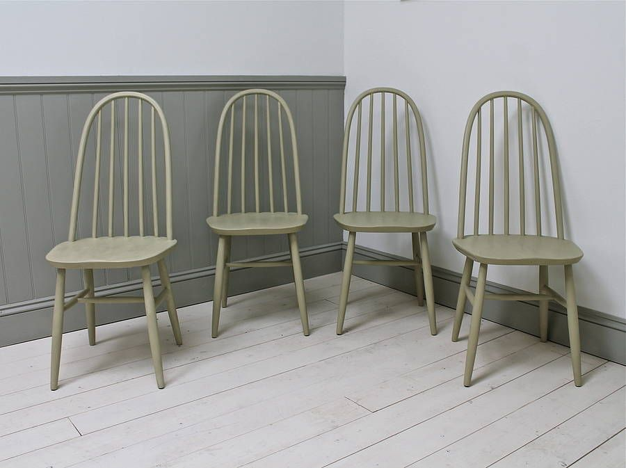 Set Of Four Vintage Spindle Back Chairs | Vintage dining chairs ...