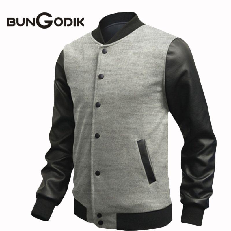 3a1036bebca Bungodik Autumn Men s Hoodies Single Breasted Leisure Coat Collar Stitching  Baseball Uniform Casual Jacket Sweatshirt Men