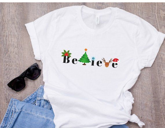 ad4d241fb Christmas Shirt, Believe Shirt, Santa shirt, Women's Holiday Shirts, Christmas  T-shirt, Happy Holidays Shirt, Funny Christmas T-Shirts, Gift