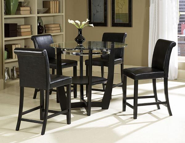 Modern High Bar Table Sets Contemporary Black Round Glass Top