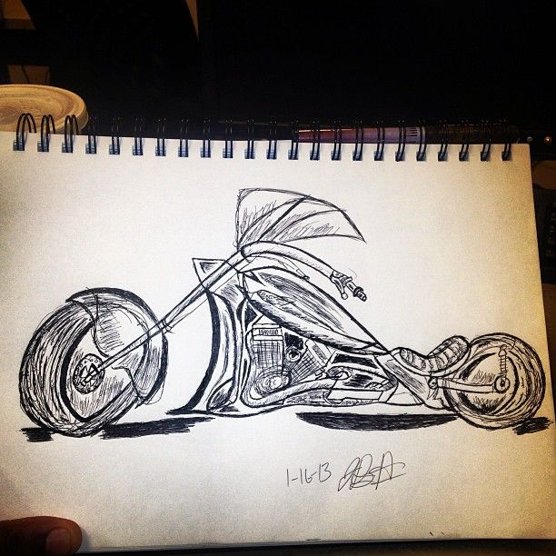 cool motorcycle drawing
