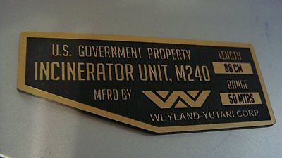 CUSTOM ALIENS M240 FLAMETHROWER SERIAL DATA PLATE PROP INCINERATOR UNIT