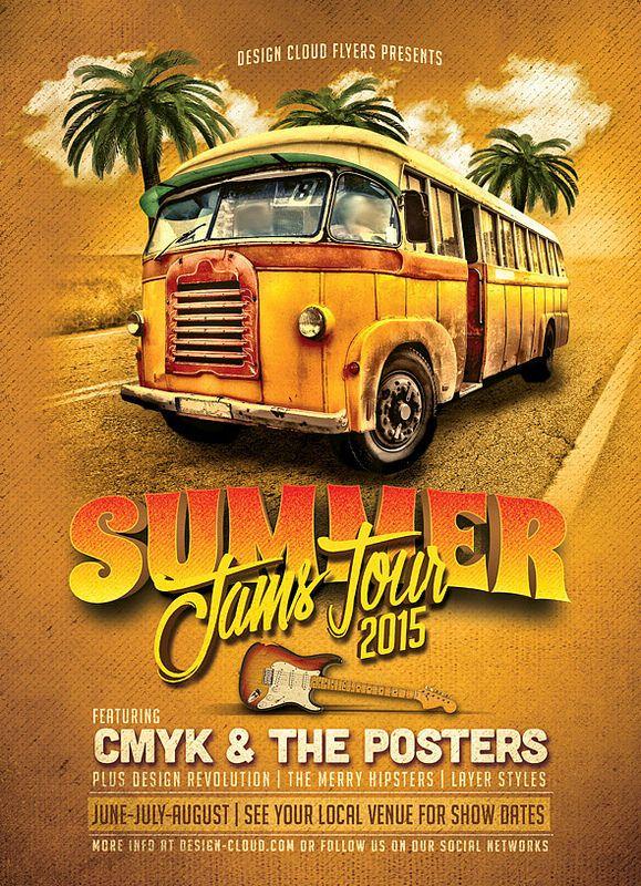 Summer Jams Tour Flyer Template Design Cloud Flyers On