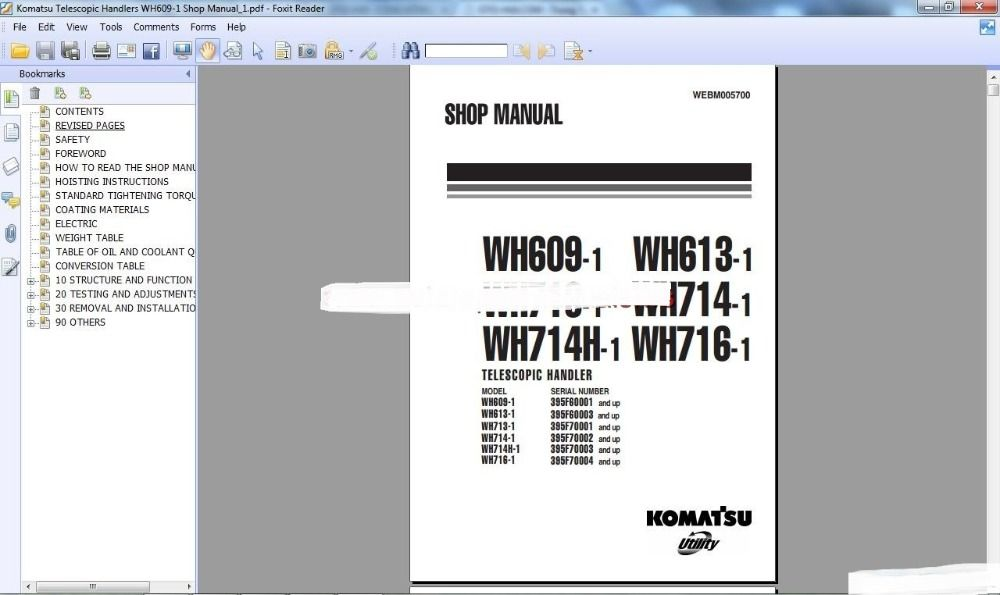 Komatsu Telescopic Handlers Workshop Manuals (ALL) Car Repair - Service Forms In Pdf